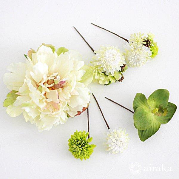 アーティフィシャルフラワー(造花)の芍薬とポンポンマムの髪飾り(白)_airaka