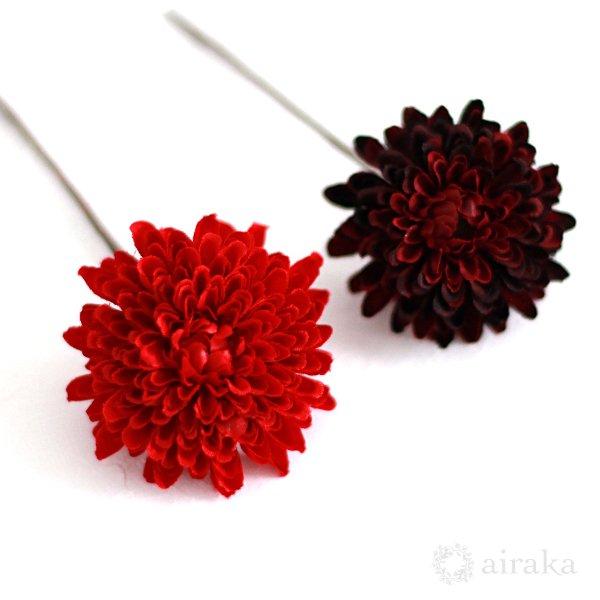 アーティフィシャルフラワー(造花)の芍薬とポンポンマムの髪飾り(赤)画像_airaka