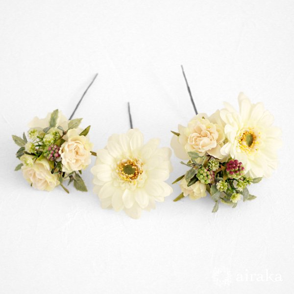 アーティフィシャルフラワー(造花)のガーベラの髪飾り(白)_airaka