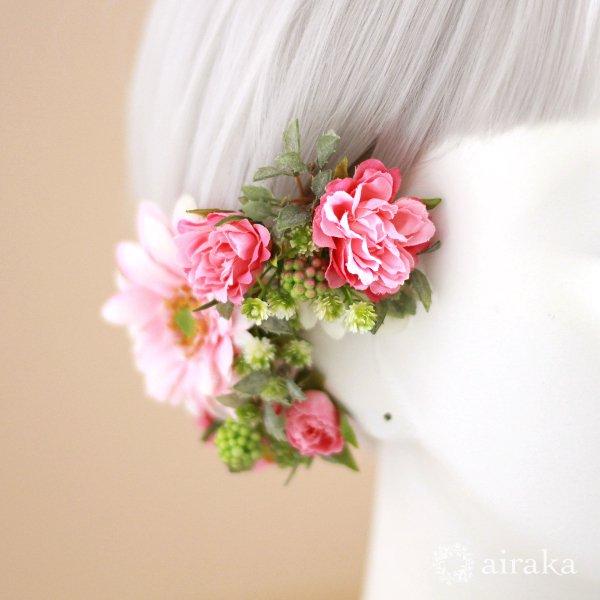 アーティフィシャルフラワー(造花)のガーベラの髪飾り(ピンク)画像_airaka