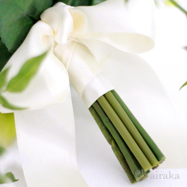 アーティフィシャルフラワー(造花)のジャスミンのクラッチブーケと髪飾りのセット(白)画像_airaka