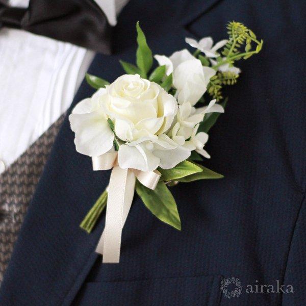 アーティフィシャルフラワー(造花)のジャスミンのクラッチブーケと髪飾りのセット(白)_airaka