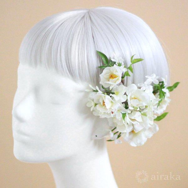 アーティフィシャルフラワー(造花)のジャスミンのクラッチブーケと髪飾りのセット(ピンク)_airaka