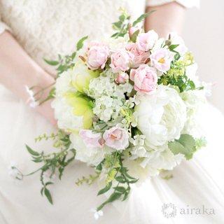アーティフィシャルフラワー(造花)のジャスミンのクラッチブーケと髪飾りのセット(ピンク)画像_airaka