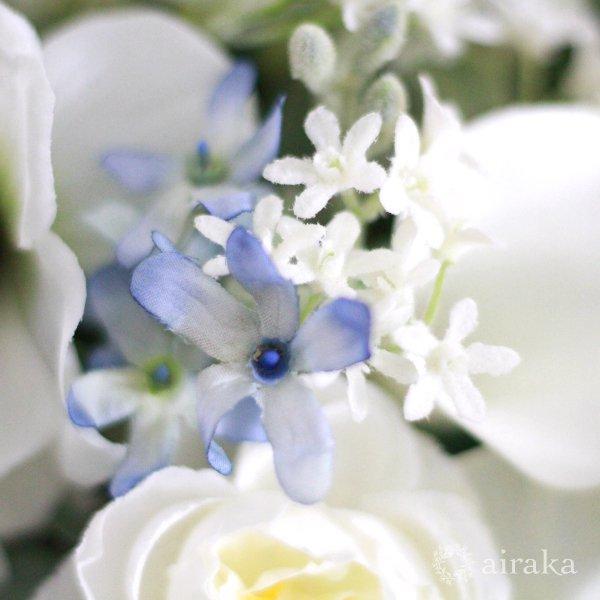 アーティフィシャルフラワー(造花)のブルースターのクラッチブーケと髪飾りのセット_airaka
