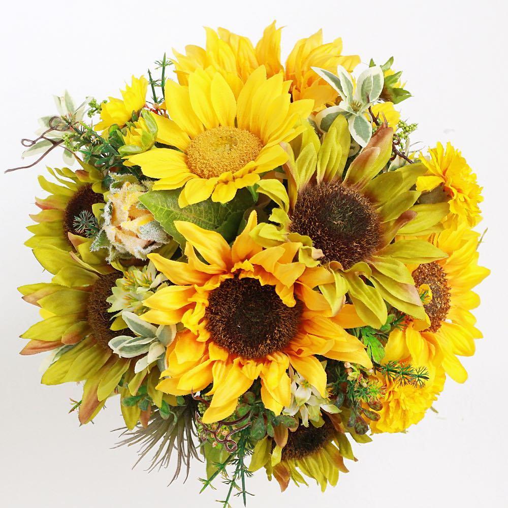 アーティフィシャルフラワー(造花)のひまわりのクラッチブーケと髪飾りのセット画像_airaka