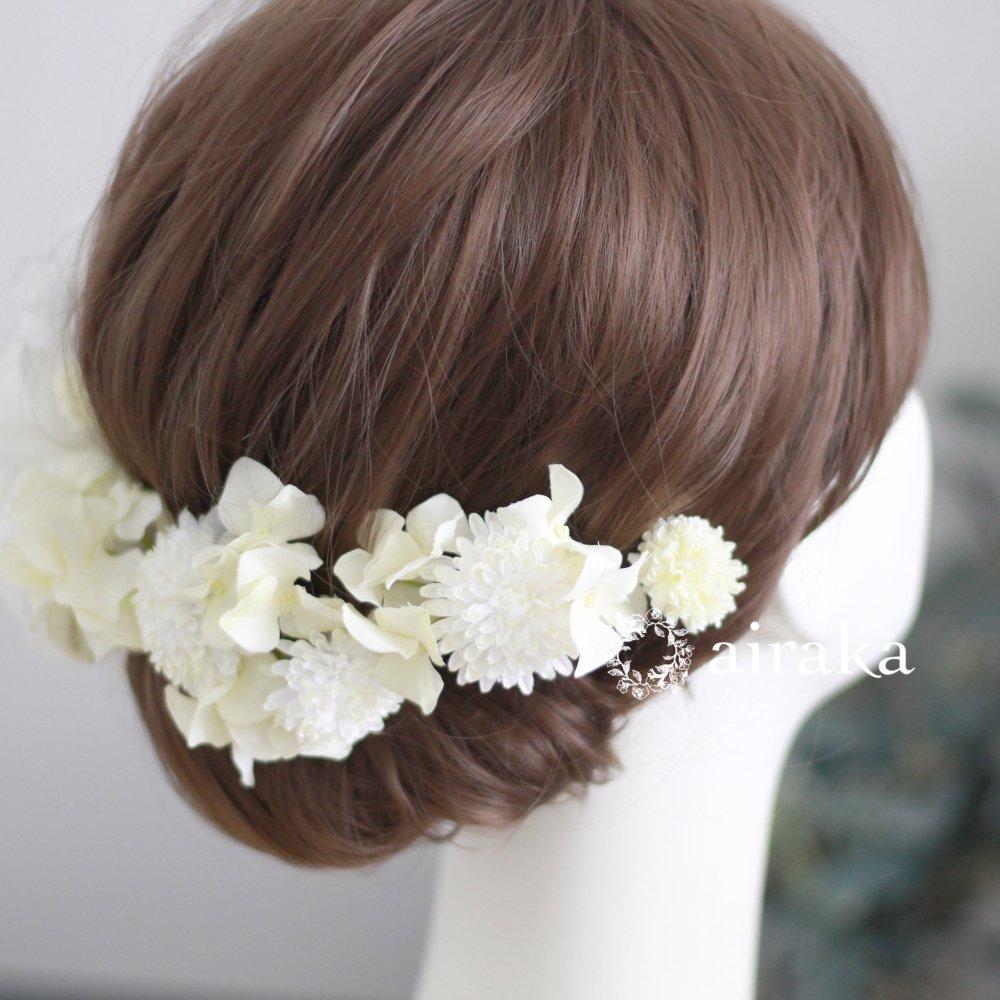 アーティフィシャルフラワー(造花)の白芍薬の髪飾り画像_airaka