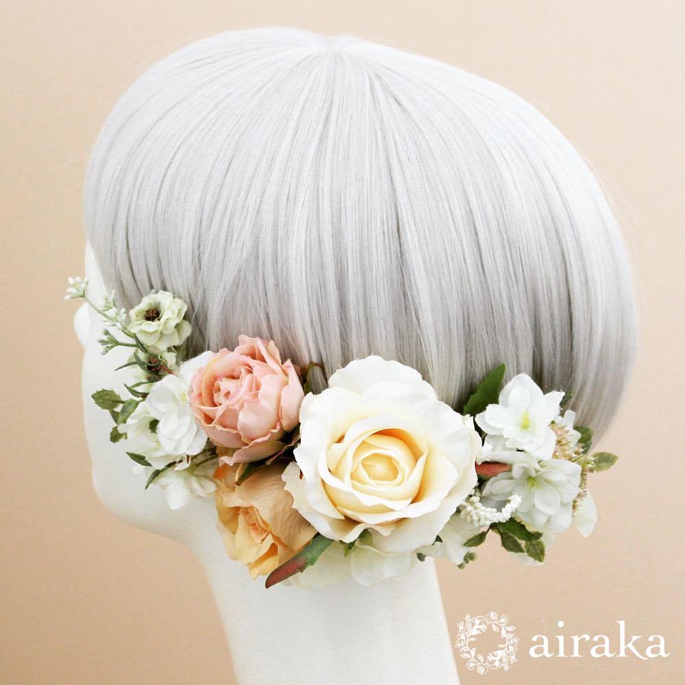 アーティフィシャルフラワー(造花)のクラシックローズの髪飾り(白)商品画像_airaka