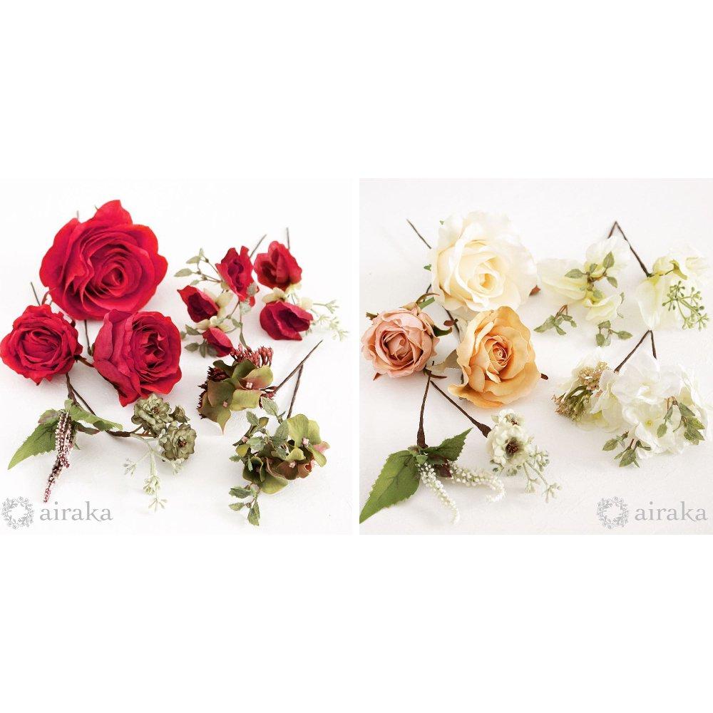 アーティフィシャルフラワー(造花)のクラシックローズの髪飾り(赤)商品画像_airaka