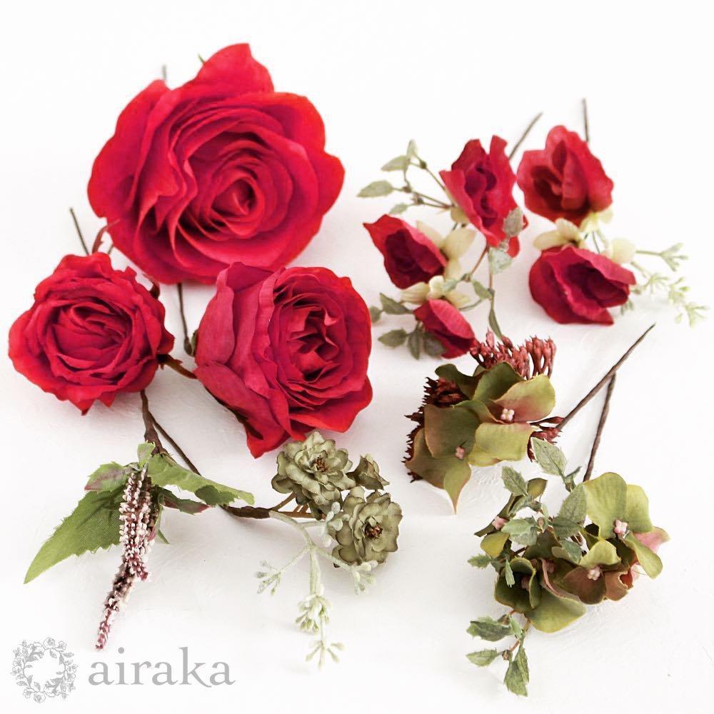 アーティフィシャルフラワー(造花)のクラシックローズの髪飾り(赤)画像_airaka