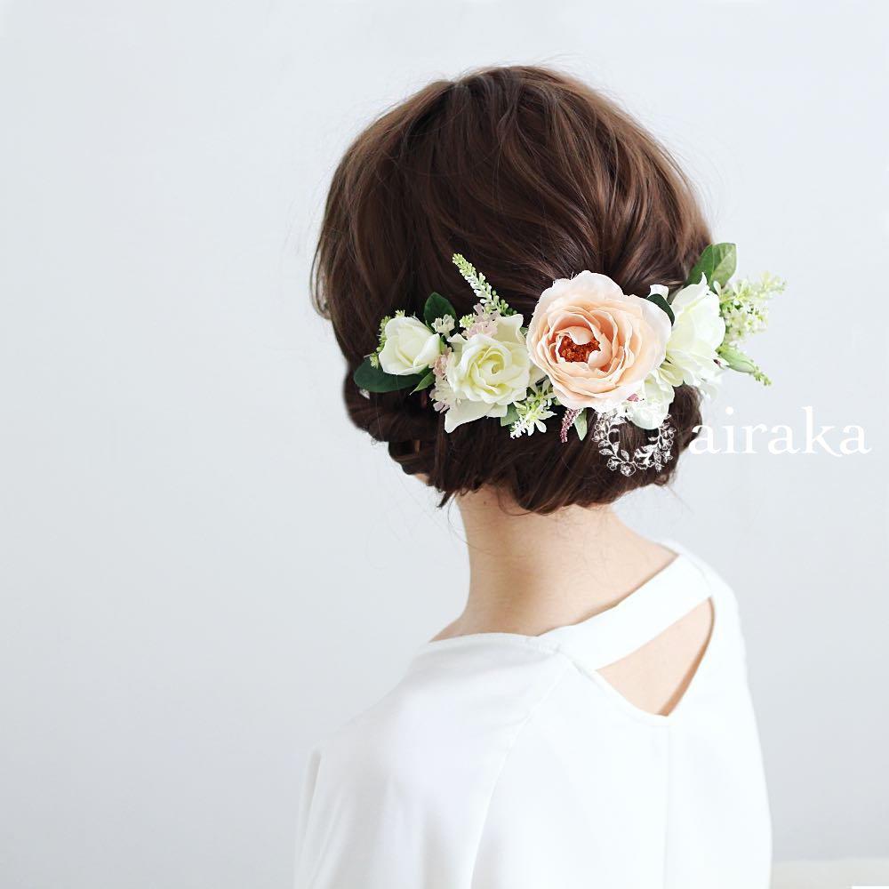アーティフィシャルフラワー(造花)の髪飾り/くちなしとバラ画像_airaka