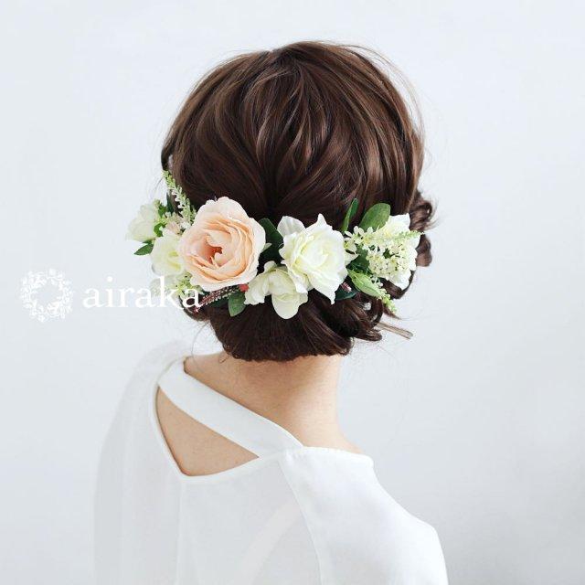 アーティフィシャルフラワー(造花)のくちなしとバラの髪飾り画像_airaka