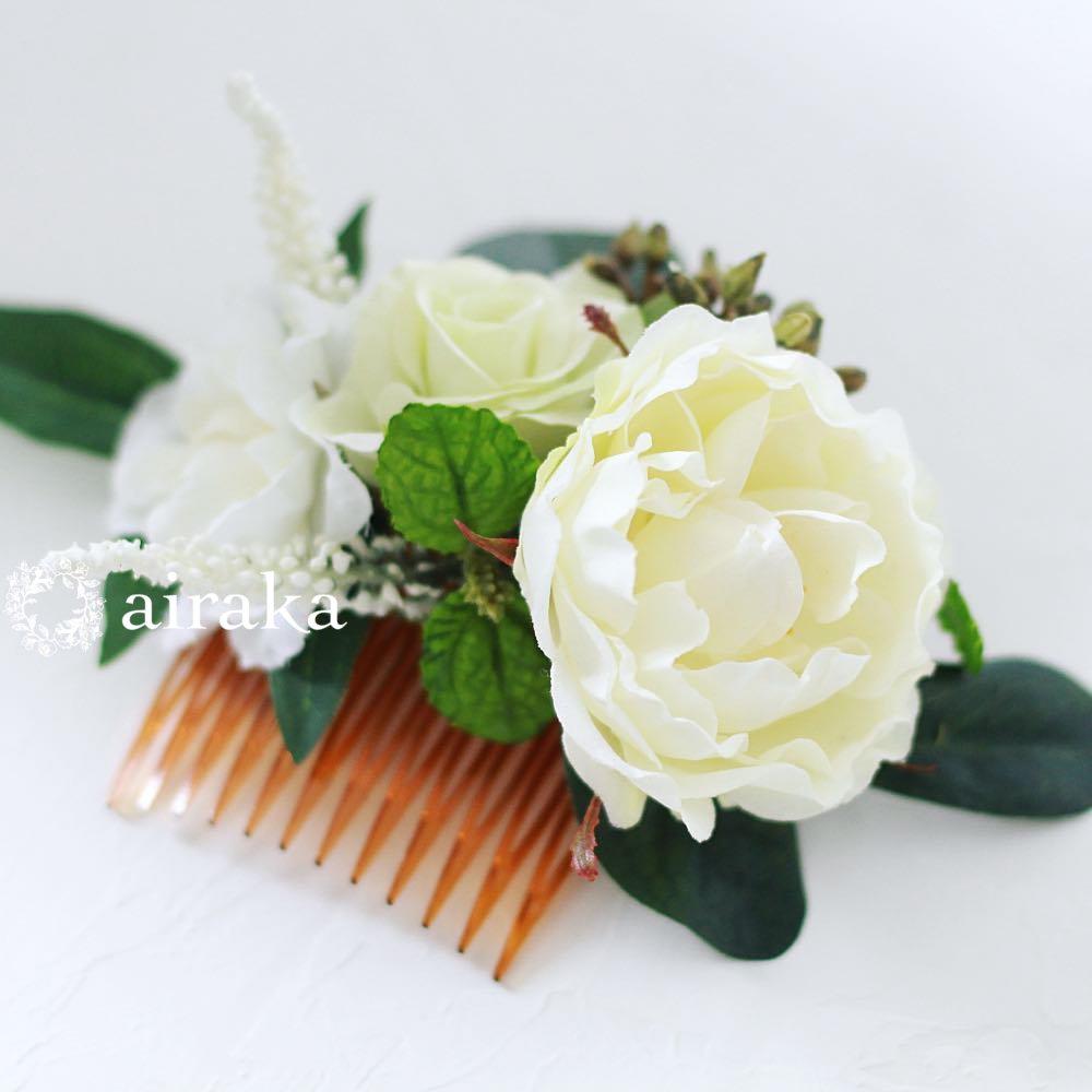 アーティフィシャルフラワー(造花)の髪飾り/バラとベロニカ画像_airaka