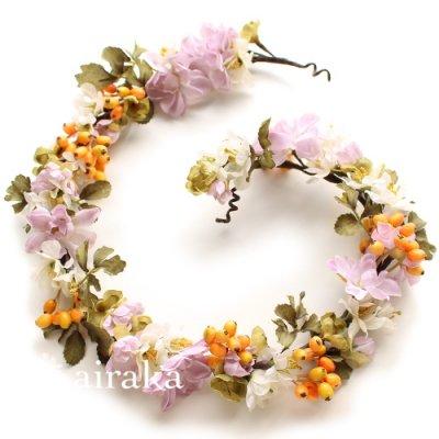 アーティフィシャルフラワー(造花)の髪飾り/ラベンダー色のデルフィニウムの花冠画像_airaka