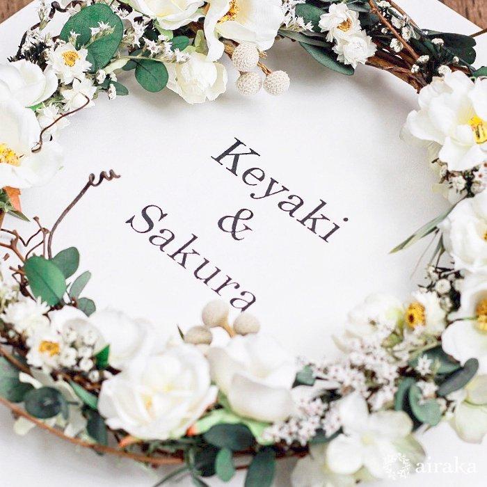 アーティフィシャルフラワー(造花)のウェルカムボード/リース付き木製ボード/ホワイトローズ×ホワイト画像_airaka