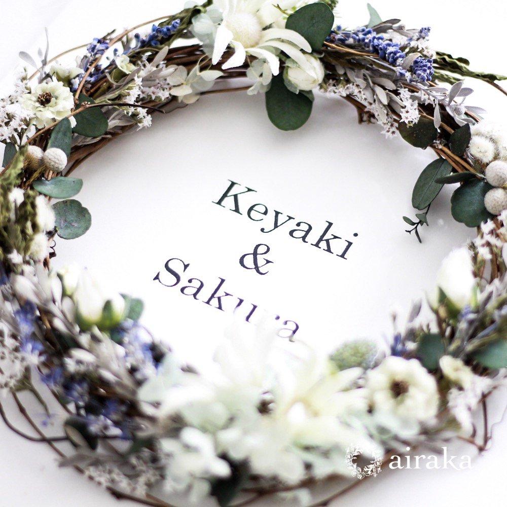 アーティフィシャルフラワー(造花)のウェルカムボード/リース付き木製ボード/フランネル×ホワイト画像_airaka