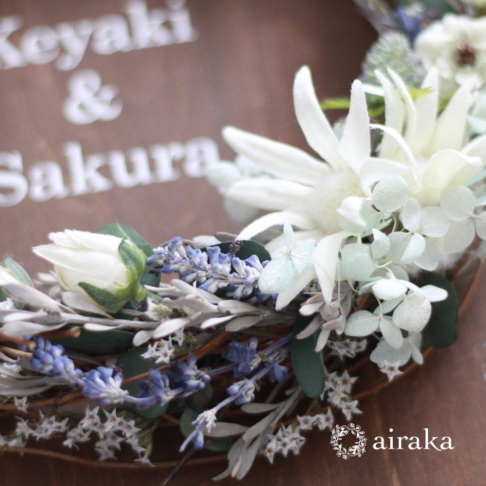 アーティフィシャルフラワー(造花)のウェルカムボード/リース付き木製ボード/フランネル×ウォルナット画像_airaka