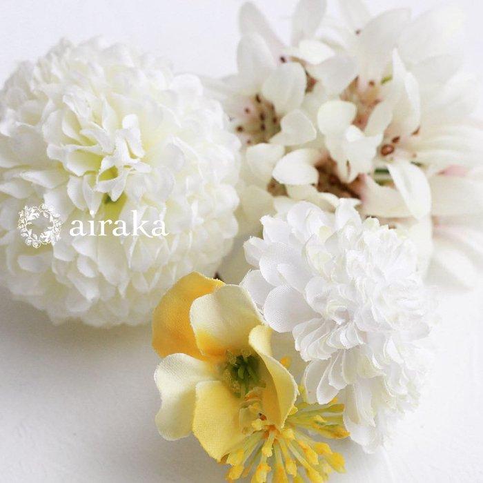 アーティフィシャルフラワー(造花)の髪飾り/カラーとダリア(グリーン)画像_airaka