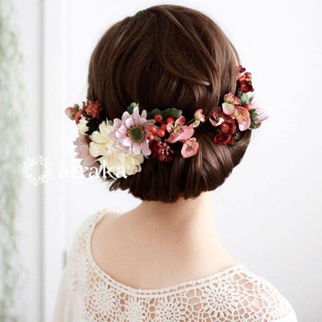 アーティフィシャルフラワー(造花)のダリアとマムの髪飾り(モーブ)画像_airaka