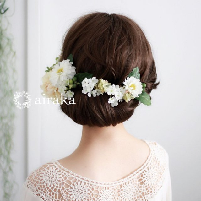 アーティフィシャルフラワー(造花)のダリアとマムの髪飾り(白)画像_airaka