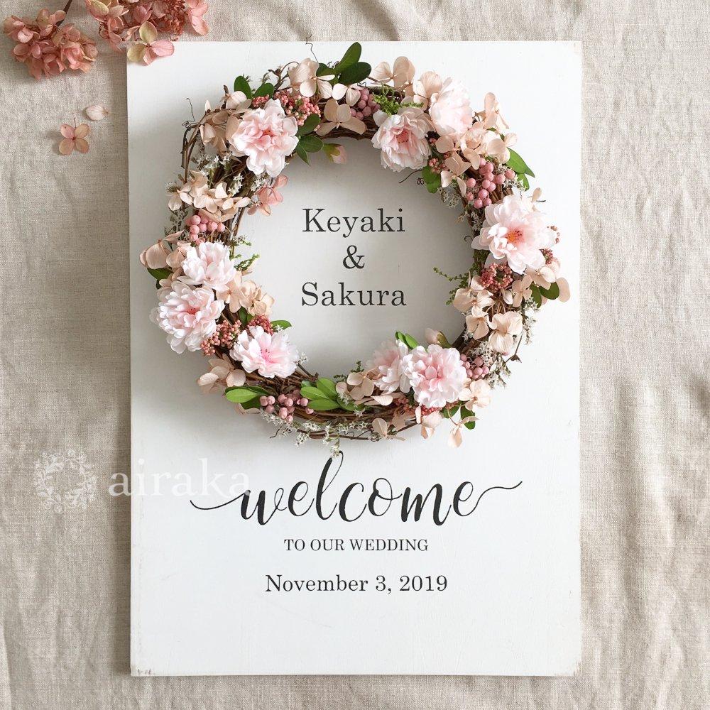 アーティフィシャルフラワー(造花)のウェルカムボード/リース付き木製ボード/桜×ホワイト画像_airaka