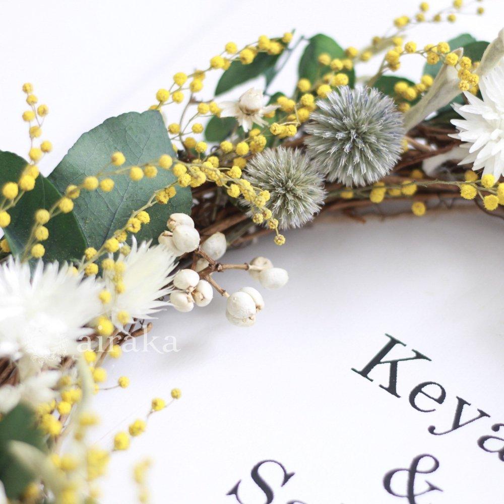 アーティフィシャルフラワー(造花)のウェルカムボード/リース付き木製ボード/ミモザ×ホワイト画像_airaka