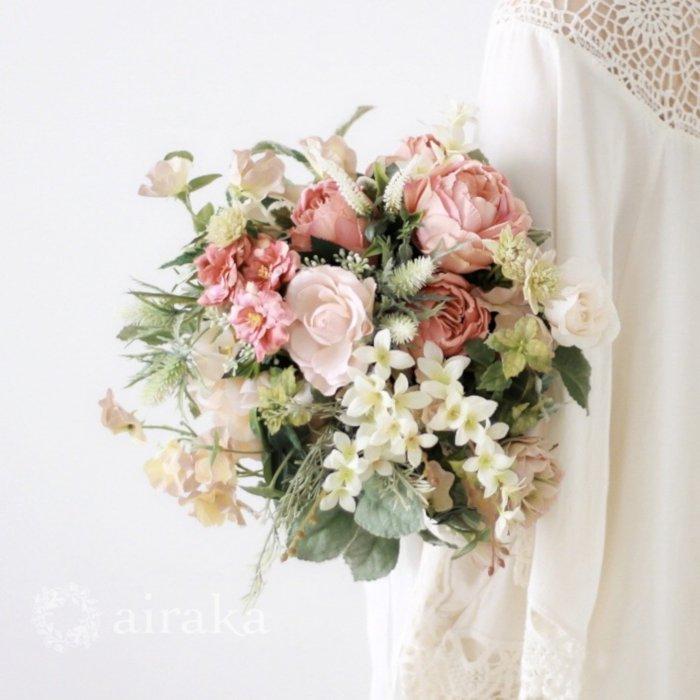 アーティフィシャルフラワー(造花)のクラッチブーケ/アプリコットローズ画像_airaka