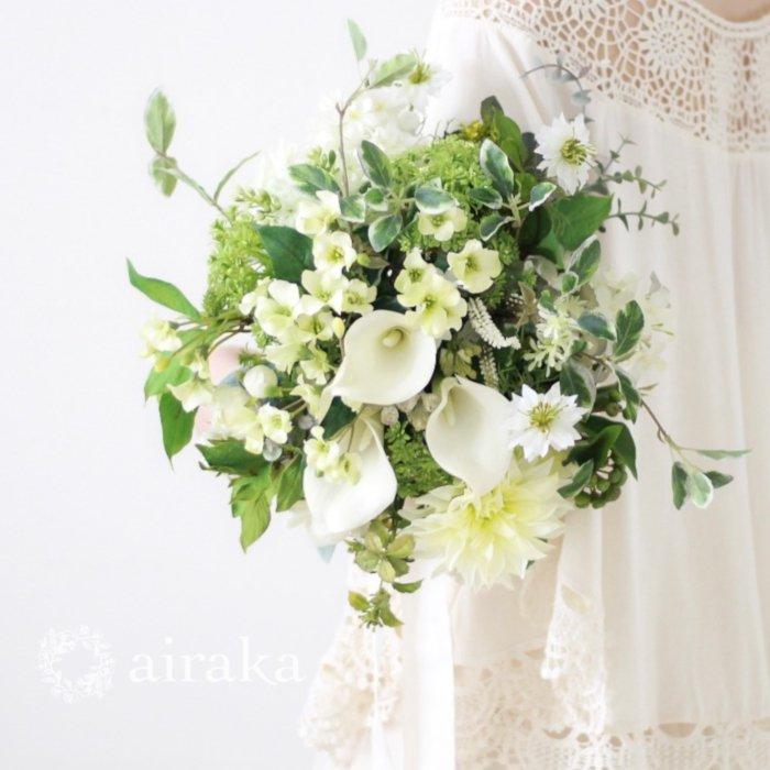 アーティフィシャルフラワー(造花)のクラッチブーケ/フレッシュ&ホワイト画像_airaka