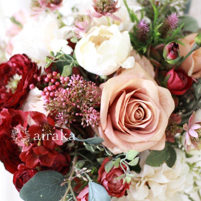 アーティフィシャルフラワー(造花)のクラッチブーケ/バーガンディ&グリーナリー画像_airaka