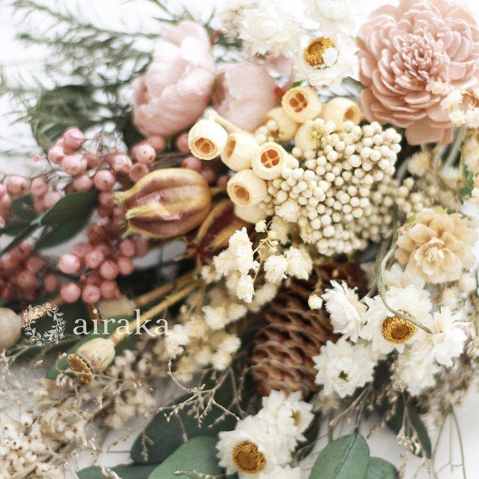 アーティフィシャルフラワー(造花)のウェルカムボード/スワッグ付きスクエア木製ボード/ピンクローズ×ウォルナット画像_airaka