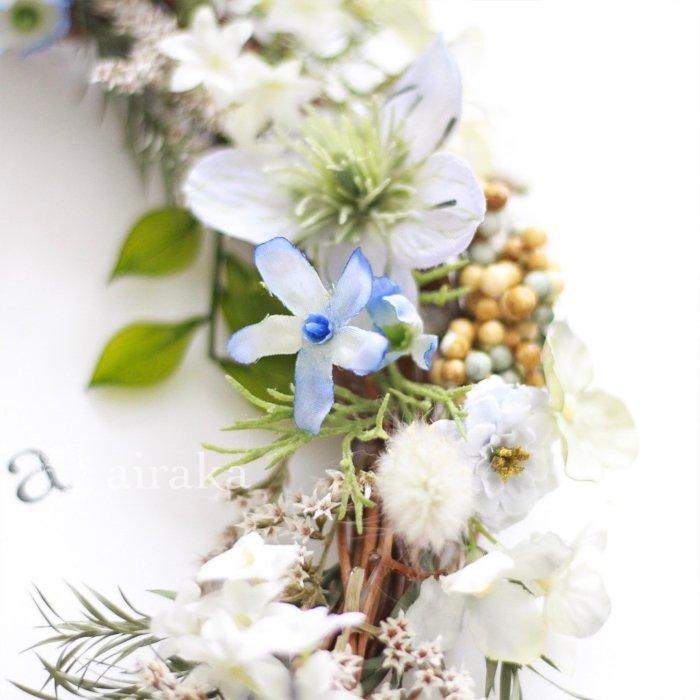 アーティフィシャルフラワー(造花)のウェルカムボード/リース付き木製ボード/ラスティックブルー×ホワイト画像_airaka