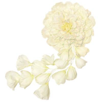 アーティフィシャルフラワー(造花)のメリア仕立ての髪飾り(ホワイト)画像_airaka