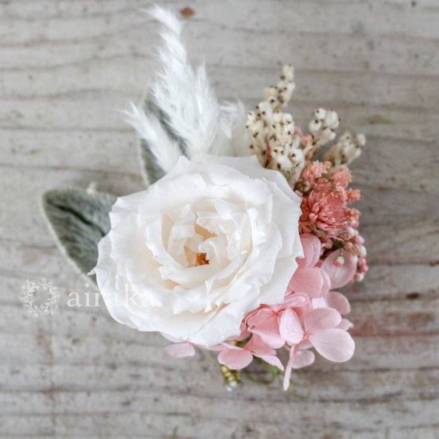 アーティフィシャルフラワー(造花)のコサージュ/フレンチローズ(ピンク)画像_airaka