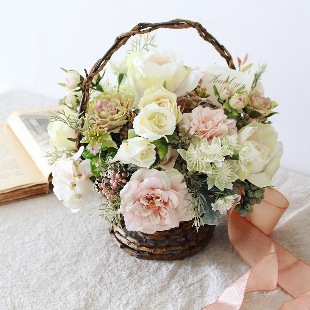 アーティフィシャルフラワー(造花)のバスケットアレンジメント/ビンテージピンク画像_airaka