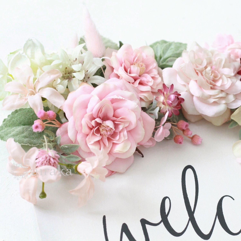 アーティフィシャルフラワー(造花)のウェルカムボード/花飾り付き木製ボード(上下)/ピンクローズ×ホワイト画像_airaka