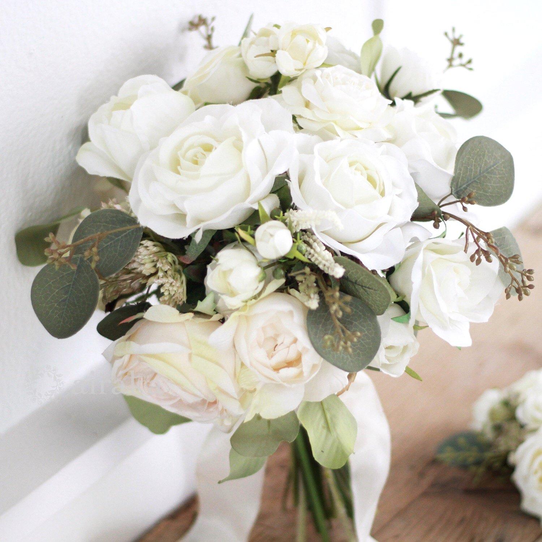 アーティフィシャルフラワー(造花)のクラッチブーケ/ホワイトローズ画像_airaka