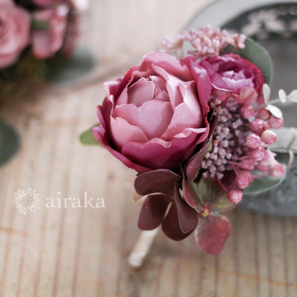 アーティフィシャルフラワー(造花)のクラッチブーケ/モーブロゼット画像_airaka