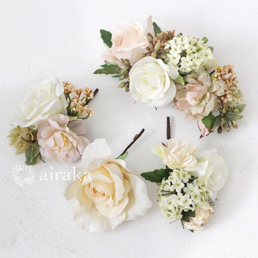 アーティフィシャルフラワー(造花)の髪飾り/クラシカルローズ画像_airaka