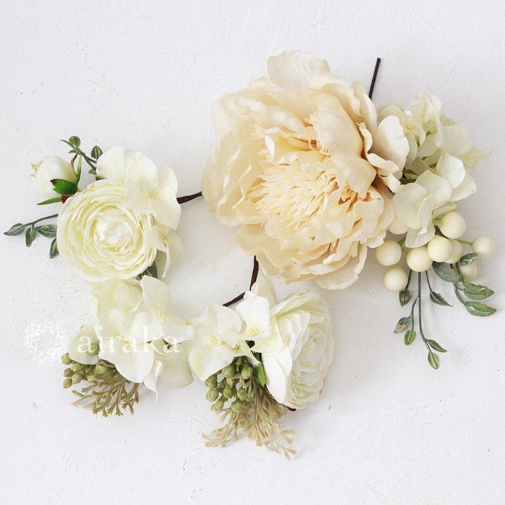 アーティフィシャルフラワー(造花)の髪飾り/アンティークピオニー画像_airaka