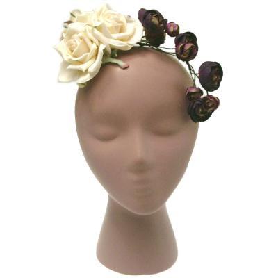 アーティフィシャルフラワー(造花)のスターローズの髪飾り(ベージュ)画像_airaka