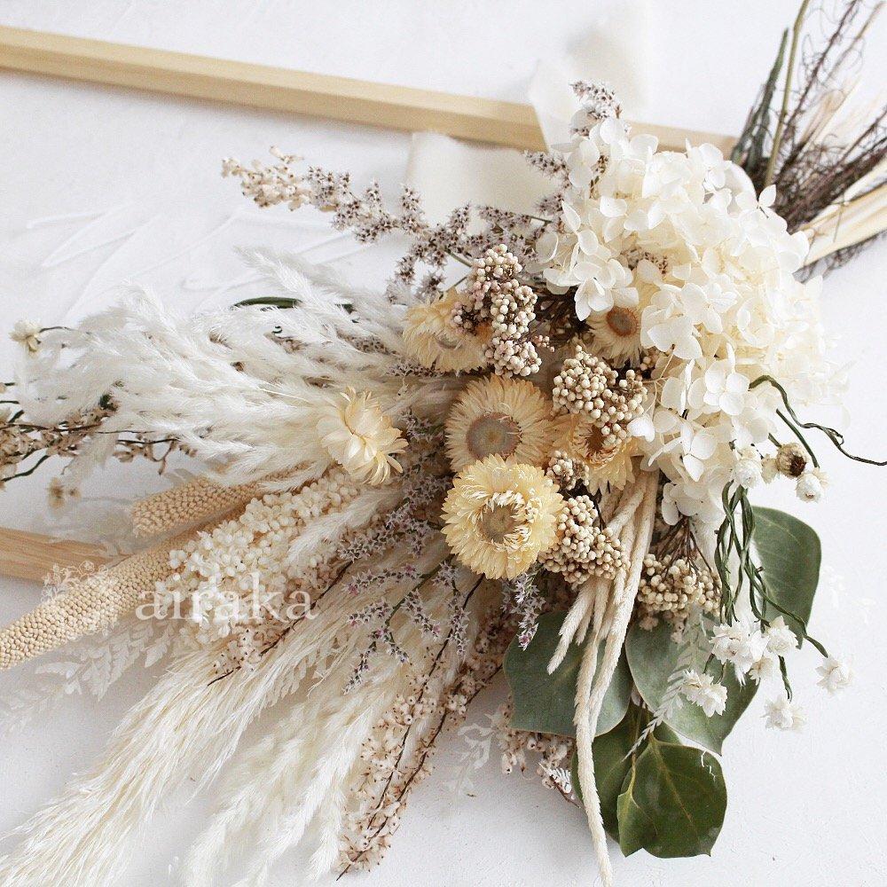 アーティフィシャルフラワー(造花)のウェルカムボード/スワッグ付きクリアフレーム/ナチュラルホワイト画像_airaka