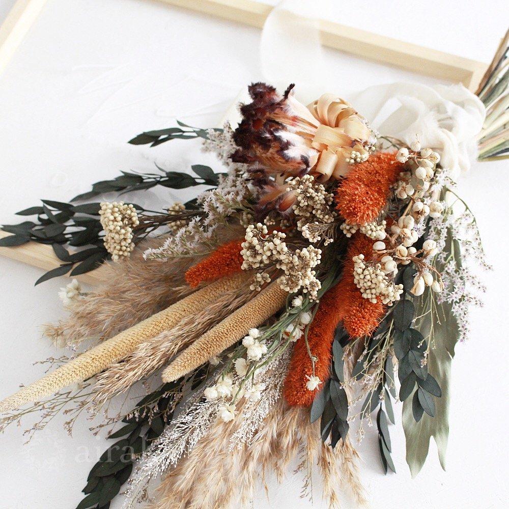 アーティフィシャルフラワー(造花)のウェルカムボード/スワッグ付きクリアフレーム/テラコッタブラウン画像_airaka