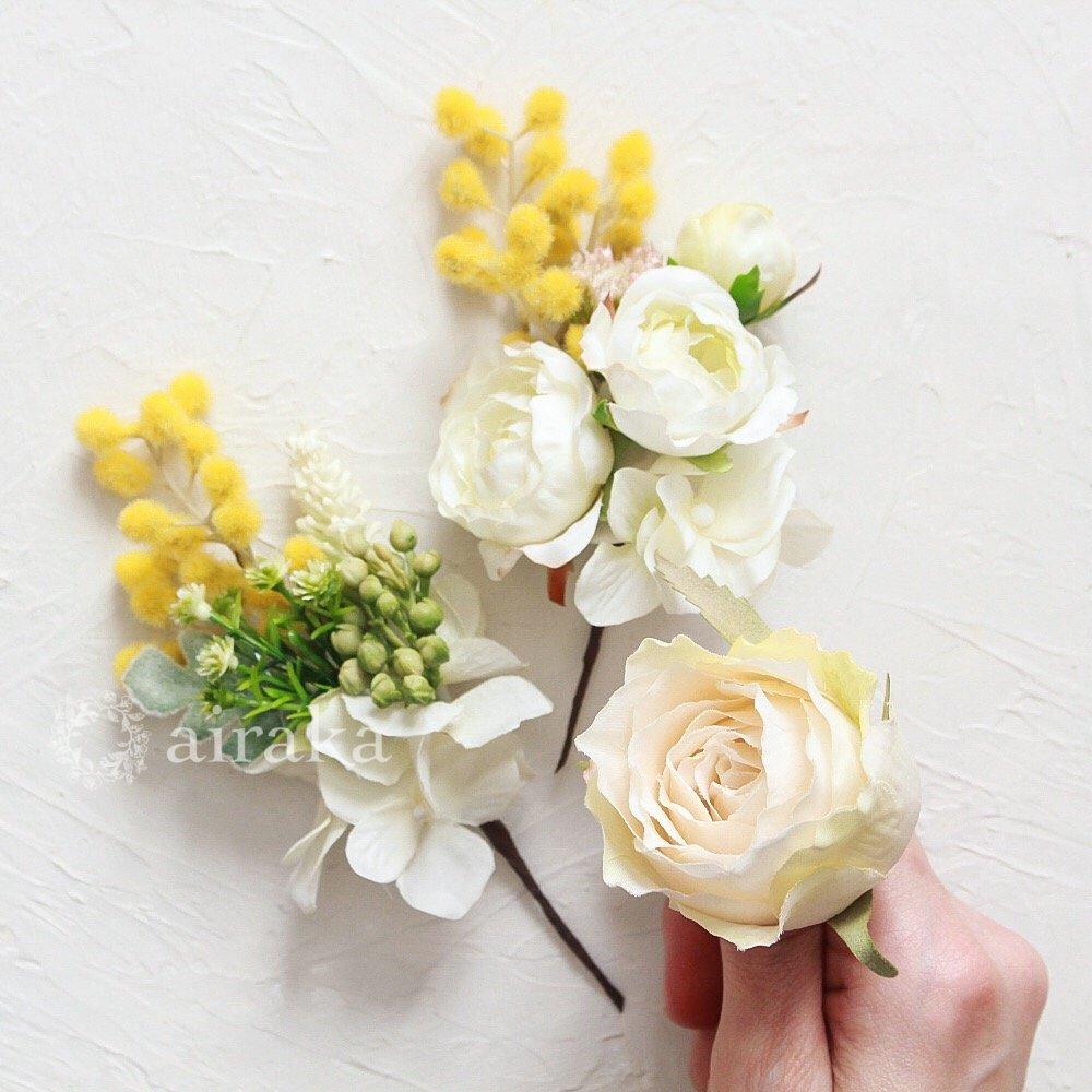 アーティフィシャルフラワー(造花)のクラッチブーケ/ミモザ画像_airaka