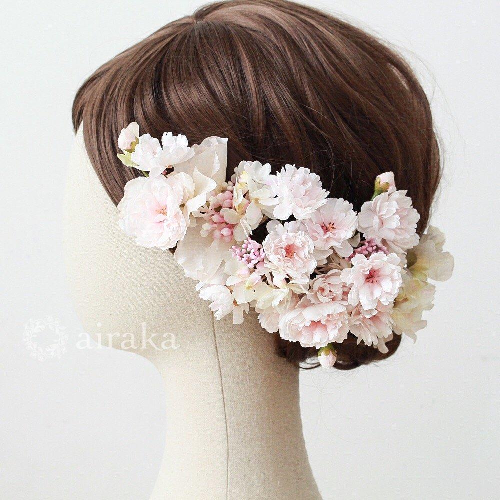 アーティフィシャルフラワー(造花)の髪飾り/桜画像_airaka