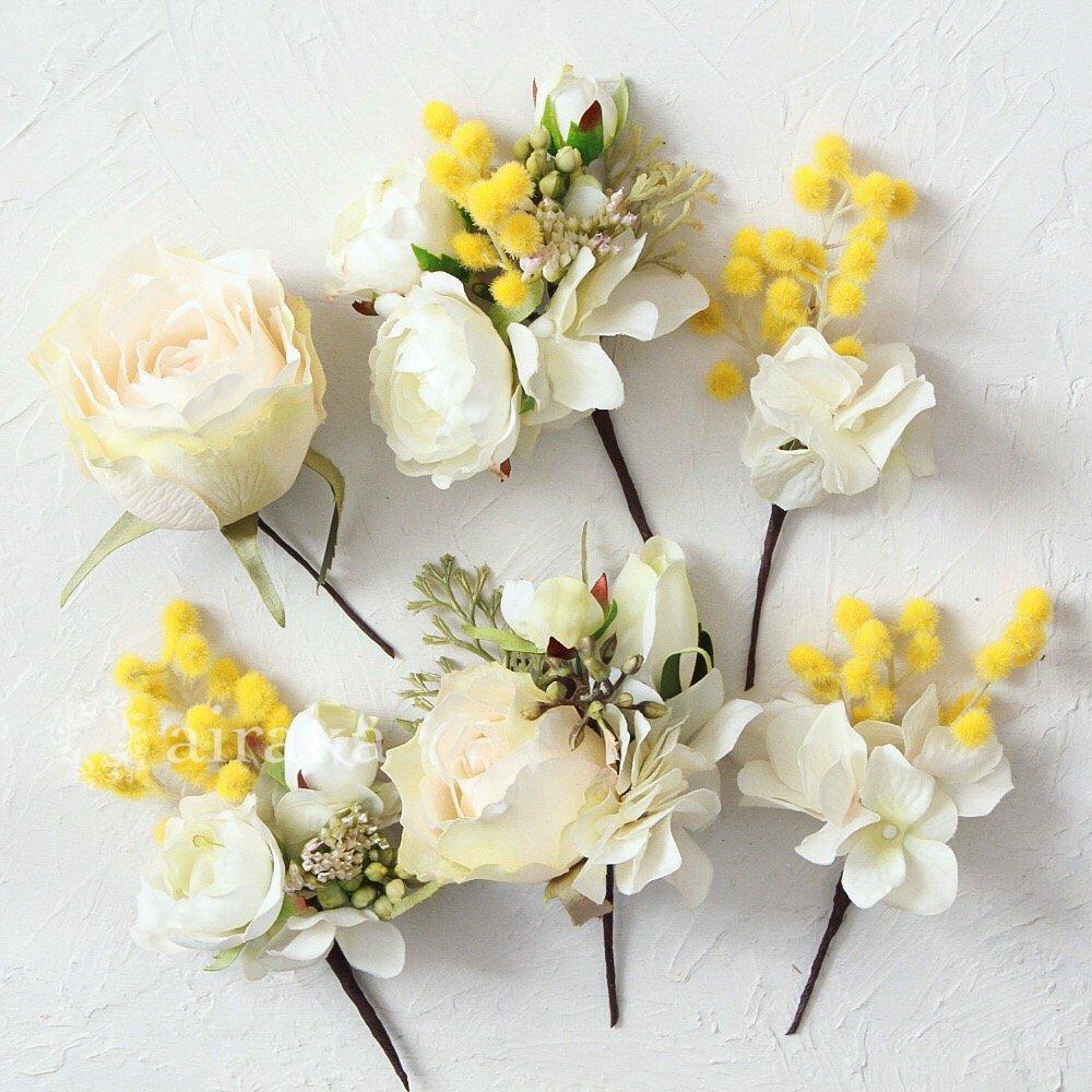 アーティフィシャルフラワー(造花)の髪飾り/ミモザ画像_airaka