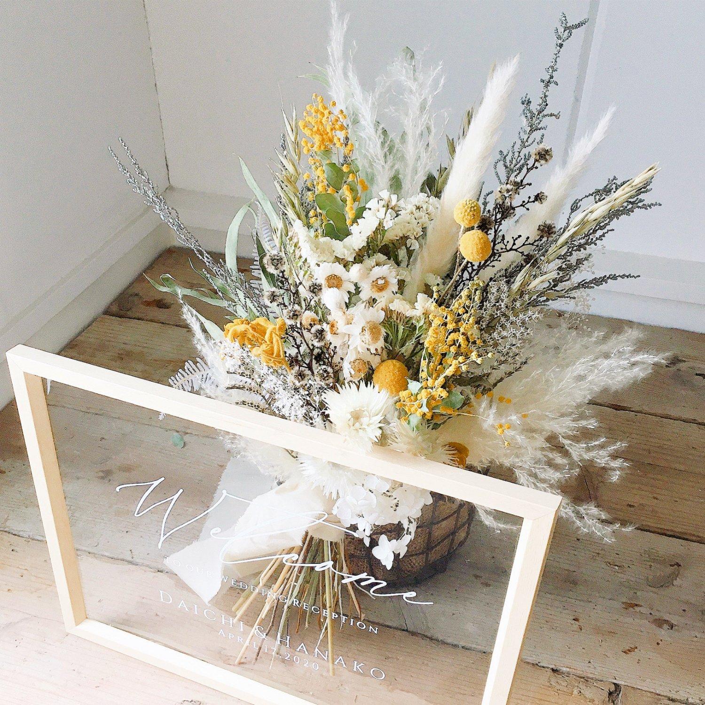 アーティフィシャルフラワー(造花)のウェルカムボード/スワッグ付きクリアフレーム/ミモザ画像_airaka