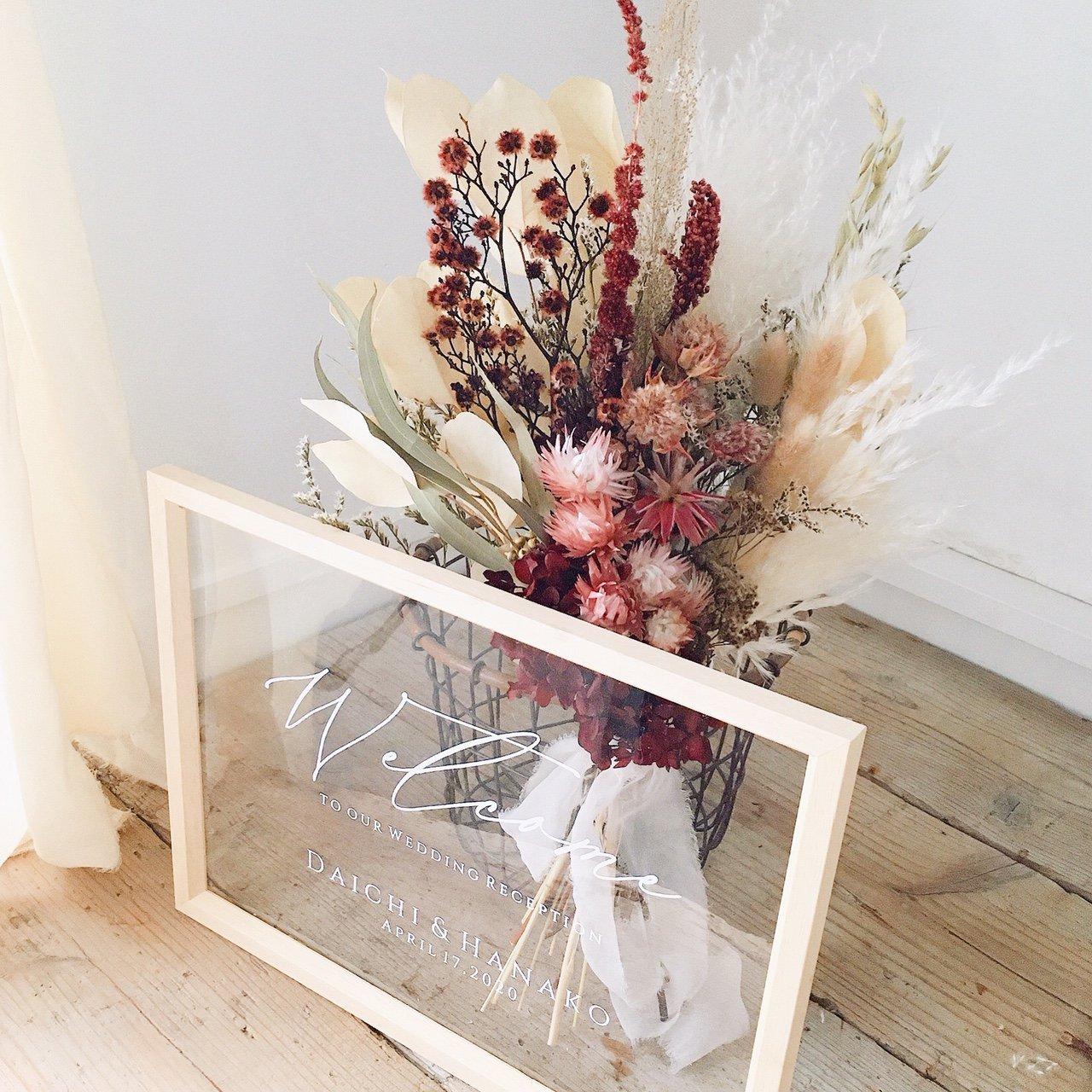 アーティフィシャルフラワー(造花)のウェルカムボード/スワッグ付きクリアフレーム/エヴァ画像_airaka