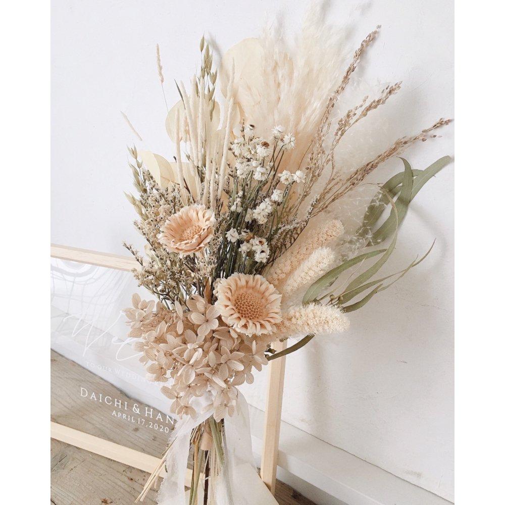 アーティフィシャルフラワー(造花)のウェルカムボード/スワッグ付きクリアフレーム/ラテホワイト画像_airaka
