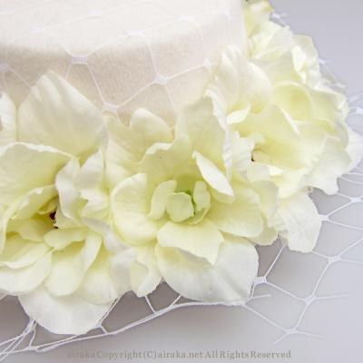 アーティフィシャルフラワー(造花)のリトルローズのミニハット(白)画像_airaka