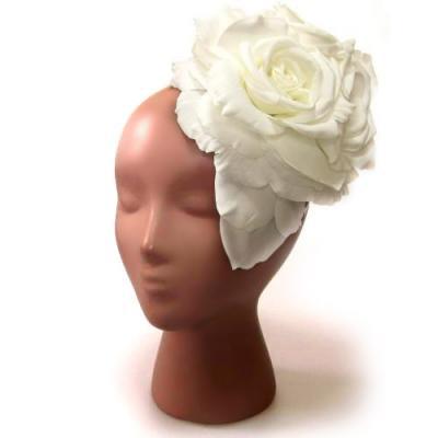アーティフィシャルフラワー(造花)のローズのオーバルプラトー(ホワイト)画像_airaka